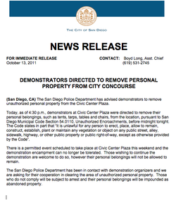 "Press Release for information regarding the ""Occupy San Diego"" demonstration at Civic Center Plaza"