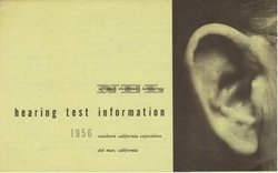 N.E.L. Hearing Test Brochure, Jim Sundell design, 1956 (ear by Barney Reid). Free hearing tests offered at the Del Mar fair were a good way for the Navy to collect scientific data.