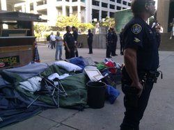 Police order protesters to remove tents and belongings at Occupy San Diego.