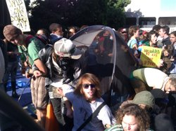 Protesters guard the last tent standing at Occupy San Diego on October 14, 2011.