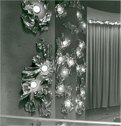 "Copper ""Light Reflectors"" and ""Light Articulators"" by Jackson and Ellamarie Woolley in the San Diego Civic Theater, ca. 1964."