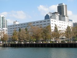 The current Navy headquarters in downtown San Diego on on Oct. 26, 2011. A proposed plan would replace the building with a new headquarters as well as a hotel and retail and office space.
