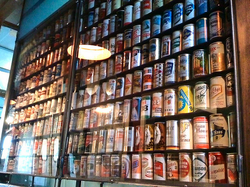 The brewery can wall at Blind Lady Ale House in Normal Heights. 
