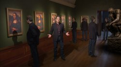 "Multiple images of physicist and acclaimed author Brian Greene in a room with pictures of the ""Mono Lisa"" and the sculpture, ""The Thinker,"" from ""The Fabric Of The Cosmos."""