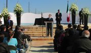 Felipe de Jesus Zamora Castro, sub-secretary of human rights for Mexico, speaks at the inauguration of the memorial, which honors women slain in Ciudad Juárez.