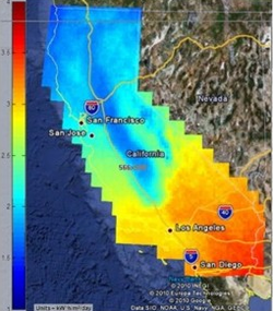 This map shows a screenshot of the Center For Energy Research's Google Earth Map global horizontal incident solar irradiance for the state of California.