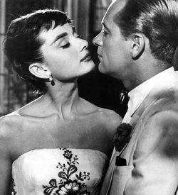 "Studio publicity portrait for the film ""Sabrina"" with Audrey Hepburn and William Holden."
