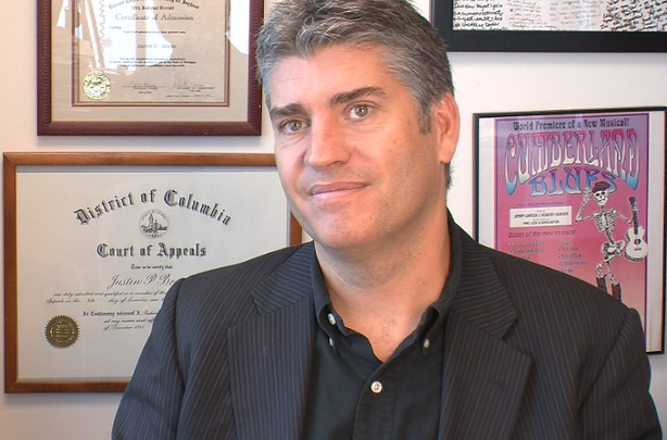 Justin Brooks, Director of the California Innocence Project, in his office at San Diego's California Western School of Law