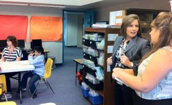 Candance Singh, Fallbrook Union Elementary School District's new superintendent, turns to ask Live Oak Elementary Principal Lilly Perez about the class they are observing, Nov. 10. 2011.