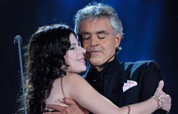 Soprano Ana Mara Martnez joins tenor Andrea Bocelli in a free concert on Central Parks Great Lawn. 