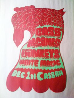 A poster for The Donkeys show tomorrow night with Cass McCombs and White Magic.