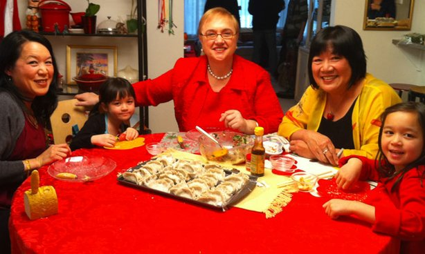 Celebrity chef, author and restaurateur Lidia Bastianich celebrates a Chinese New Year feast with Shirley Fong-Torres and family.