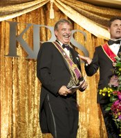 "KPBS General Manager Tom Karlo with Gala Emcee and host of ""Antiques Roadshow"" Mark L. Walberg"