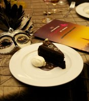 Gala guests enjoyed a gourmet feast, prepared by Executive Chef Jeff Jackson.  The meal ended with a delicious Sacher Torte with Chocolate Sauce and Whipped Cream.