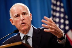 California Governor Jerry Brown announces his public employee pension reform plan October 27, 2011 at the State Capitol in Sacramento, California.