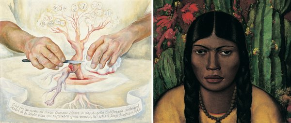 Two of the works in the SDMA's Modern Mexican Paintings exhibit that were used as inspiration for the Writerz Blok mural.