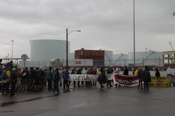 Protesters block an entrance to the San Diego Port on the morning of Monday, Dec. 12, 2011, as part of a West Coast Occupy protest.
