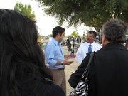 Dr. Raul Ruiz meets with Mecca residents at the Virgen de Guadalupe church in Coachella Valley.
