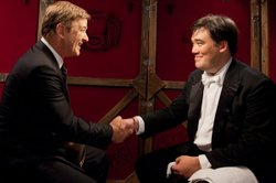 Host Alec Baldwin talks with music director and conductor Alan Gilbert.