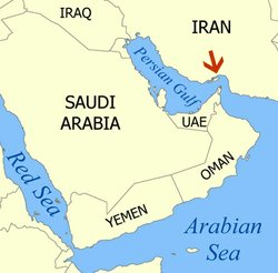 The Strait of Hormuz (red arrow) relative to the Arabian Peninsula and Persian Gulf.