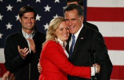 Mitt Romney hugs his wife, Ann, in Des Moines, Iowa on Tuesday.