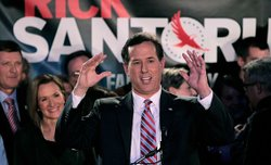 Rick Santorum addresses supporters at his caucus party in Johnston, January 3, 2012.