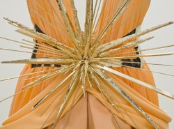 A close up view of a Rodarte gown inspired by Italian art in the new LACMA exhibition, &quot;Rodarte: Fra Angelico Collection. 