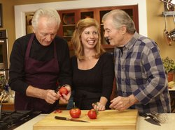 Jacques Pépin (right) shares a laugh with daughter Claudine and best friend Jean-Claude Szurdak.