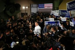 Romney talks to supporters at a town-hall meeting in Hudson, N.H. on January 9, 2012.