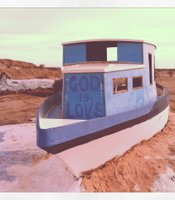 A boat painted by Leonard Knight at Salvation Mountain.