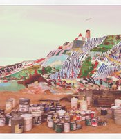 Over the years, visitors have donated thousands of gallons of paint. Several cans sit at the base of the mountain.