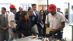 U.S. Labor Secretary Hilary Solis talks to students at the San Diego Job Corps Center in Imperial Beach