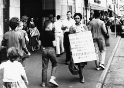 Daisy Bates picketing in Little Rock, Arkansas.