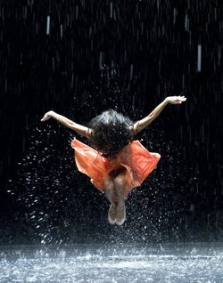 A still from Wim Wenders&#39; 3D doc about choreographer Pina Bausch. There&#39;s an amazing performance involving water in the film. 