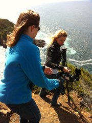 Jill Replogle (left) and Katie Euphrat filming from the edge of a cliff south of Ensenada.