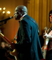 Buddy Guy, left, and Jeff Beck perform as President Barack Obama and First Lady Michelle Obama host IN PERFORMANCE AT THE WHITE HOUSE &quot;Red, White And Blues&quot; in celebration of Blues music in the East Room of the White House, Feb. 21, 2012.