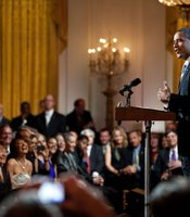 President Barack Obama delivers remarks as he and First Lady Michelle Obama host, IN PERFORMANCE AT THE WHITE HOUSE &quot;Red, White And Blues&quot; in celebration of Blues music in the East Room of the White House, Feb. 21, 2012.