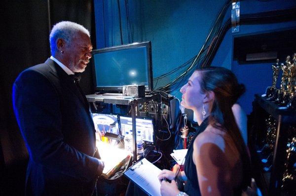 God (a.k.a. Morgan Freeman) getting ready to kick off the 2012 Oscar show.