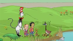 "Animated scene from the episode ""Seasons – Spring and Summer"" with The Cat in the Hat, Sally and Nick."