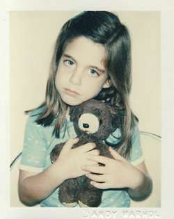 Andy Warhol, Unidentified Girl (Blue T-shirt With Teddy Bear), 9:1979 polacolor type 108; 4-1:4 x 3-3:8  The Andy Warhol Center for the Visual Arts.