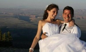 Ioana Hociota married Andrew Holycross June 12, 2011 at Grand Canyon's Marble Point. Afterwards, they took many of their guests on a 25-mile rim to rim hike in the Grand Canyon.