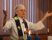 Though retired, Episcopal Priest Carol Hosler still takes to the pulpit to enrich the worship experience of parishioners in her church.