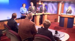 Republican incumbent Brian Bilbray squares off against Port Commissioner Scott Peters and former state Assemblywoman Lori Saldana during a debate at KPBS on March 14, 2012.
