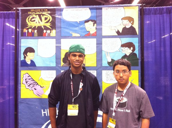 Joshua Agunos and Anthony Tran of the Chula Vista High Tech High Graphic Novel Project at their booth at WonderCon.