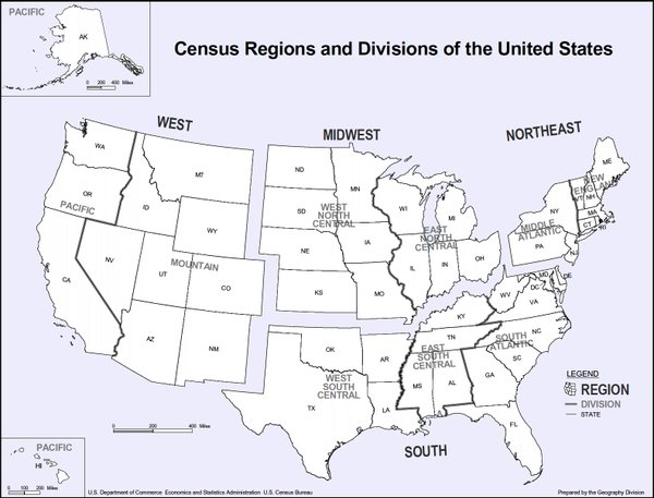 How the U.S. Census Bureau divides the country into regions.