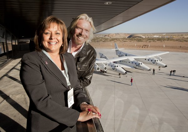 The dedication of the Virgin Galactic Gateway in Spaceport America, New Mexico, October 17, 2011. Gov. Susana Martinez and Virgin Galactic owner Richard Branson.