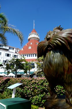 A different Lorax sculpture, outside the Hotel Del Coronado.