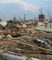 A chimney is all that is left here after the April 2011 tornado outbreak - Joplin, Missouri.