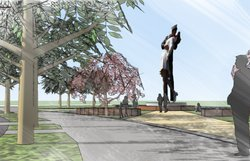 Architectural renderings of the permanent bronze version of Unconditional Surrender. A fundraising effort is underway to build and install the statue.