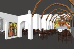 A rendering of a new restaurant in Mercado del Barrio with the rathskeller artwork installed, by Safdie Rabines Architects.